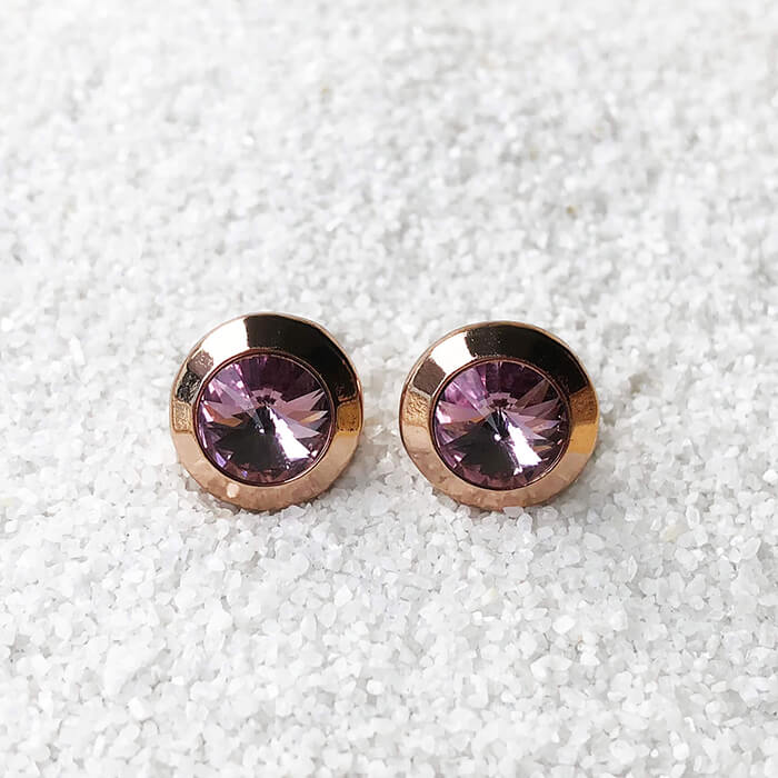 light amethyst and rose gold unique stud earrings