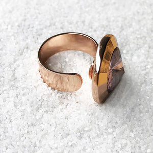 unique amethyst and rose gold adjustable statement ring
