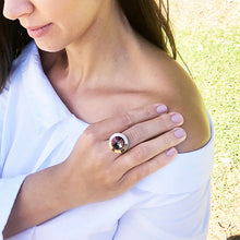 amethyst and rose gold adjustable statement ring on model