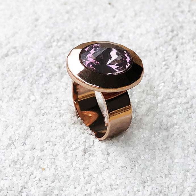 amethyst and rose gold adjustable statement ring