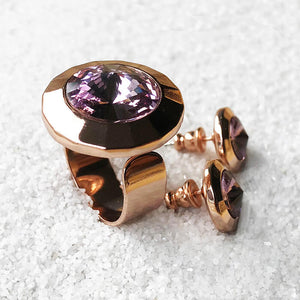 amethyst and rose gold unique sparkly statement ring and stud earrings set