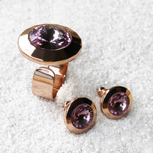 ethical amethyst and rose gold adjustable statement ring and crystal stud earrings
