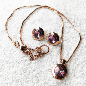 amethyst and rose gold elegant sparkly pendant and ethical stud earrings set