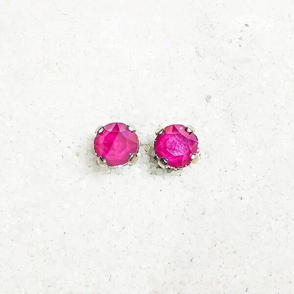 bright pink stud earrings for kids swarovski
