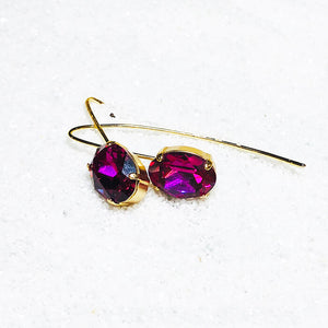 pink crystal drop earrings with gold finish