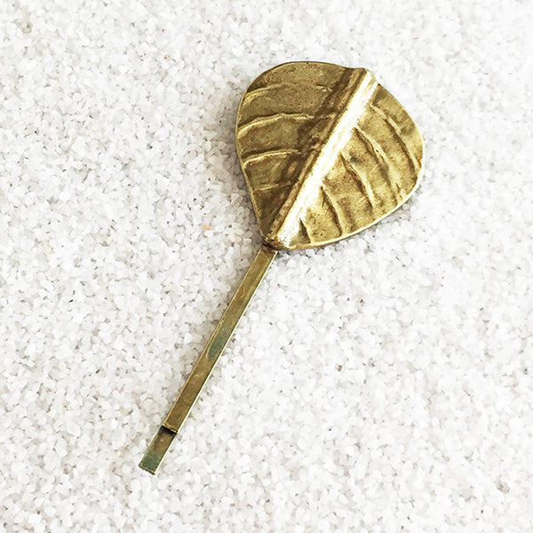 antique gold leaf shaped elegant hairpin
