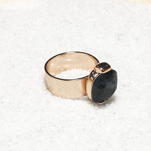 elegant rose gold and black statement ring blackbird
