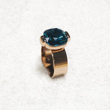sparkly rose gold and turquoise swarovski statement ring