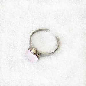 elegant rhodium plated and rose opal swarovski adjustable cocktail ring ethical rings