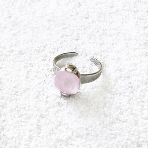 sparkly rhodium plated and rose opal swarovski adjustable cocktail ring