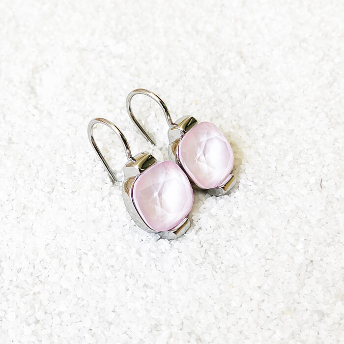 unique rhodium plated and rose opal swarovski crystal drop earrings