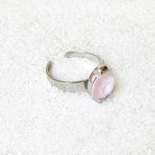 ethical rhodium plated and rose opal swarovski adjustable cocktail ring