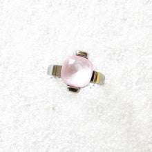 unique rhodium plated and rose opal swarovski cocktail ring