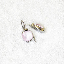 unique rhodium plated and rose opal swarovski crystal drop earrings ethical jewellery