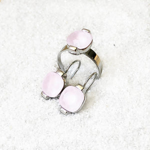 elegant rhodium plated and rose opal swarovski adjustable ethical ring and ethical earrings