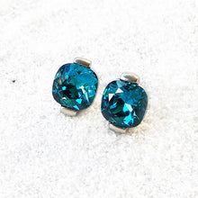 elegant rhodium silver and turquoise crystal statement stud earrings