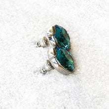 beautiful rhodium silver and turquoise crystal statement stud earrings