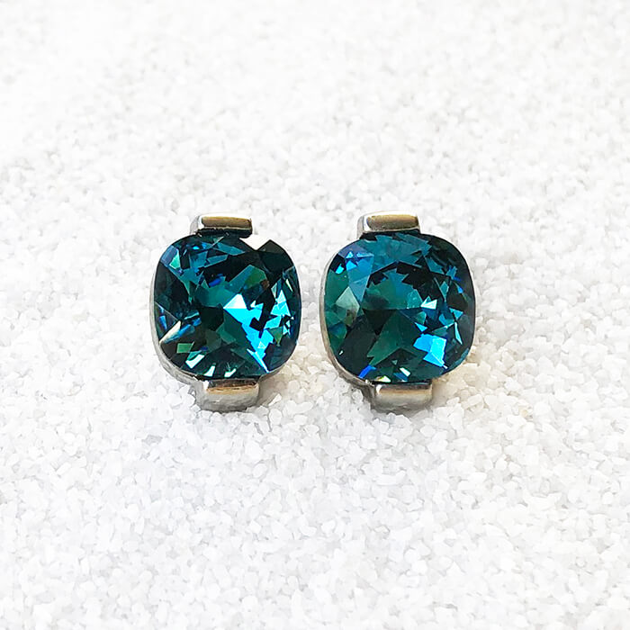 unique rhodium silver and turquoise crystal statement stud earrings