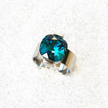 affordable unique silver and turquoise swarovski statement ring