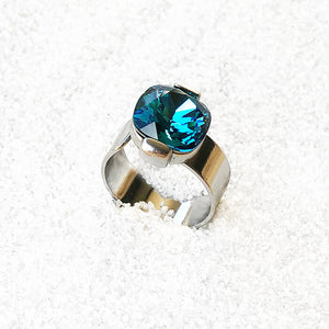 elegant unique silver and turquoise swarovski crystal statement ring