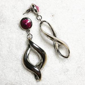 silver dangle earrings with hot pink swarovski crystal online