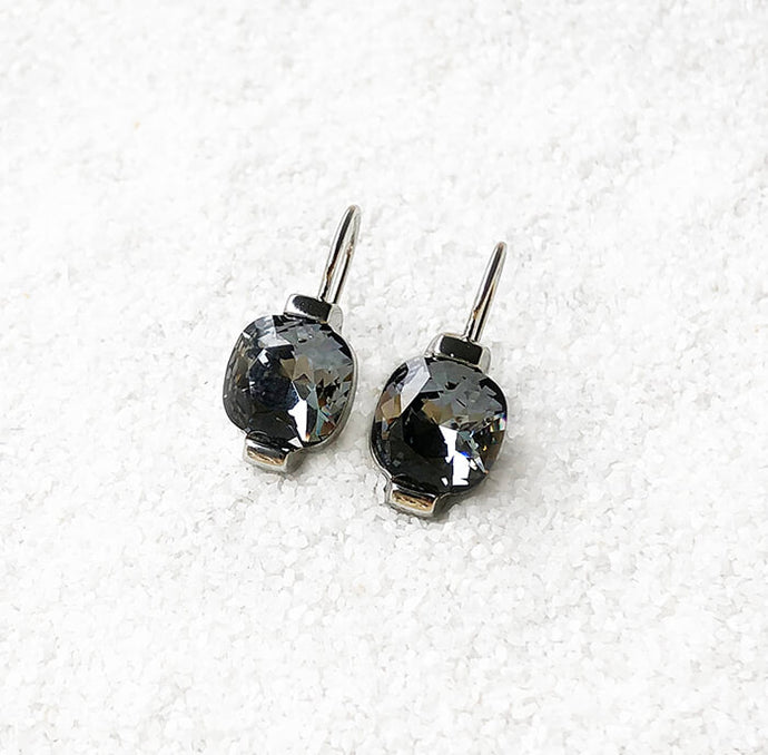 black and silver elegant ethical crystal drop earrings