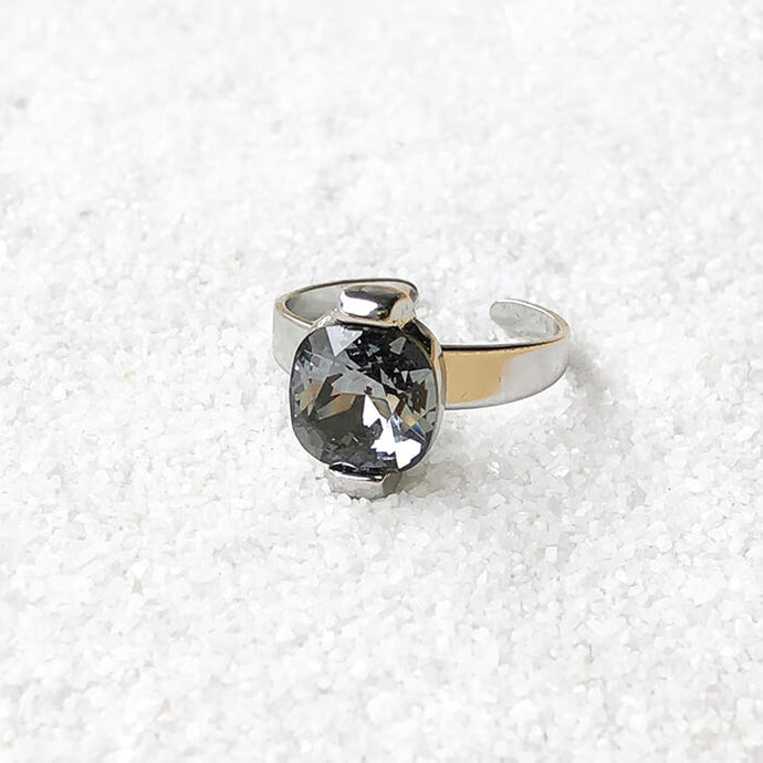 black and silver elegant unique cocktail ring