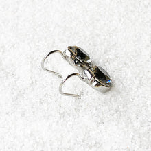 black and silver sparkly ethical crystal drop earrings