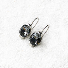 black and silver unique ethical crystal drop earrings