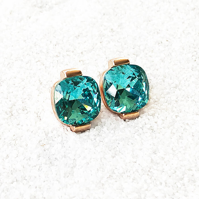 stylish stud earrings rose gold and light turquoise swarovski