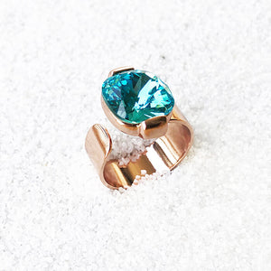 unique light turquoise swarovski and rose gold statement ring