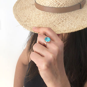 beautiful light turquoise swarovski and rose gold statement ring
