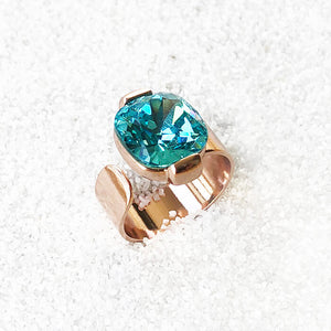 unique adjustable statement ring light turquoise swarovski and rose gold