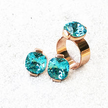 unique  ethical jewellery in light turquoise swarovski and rose gold