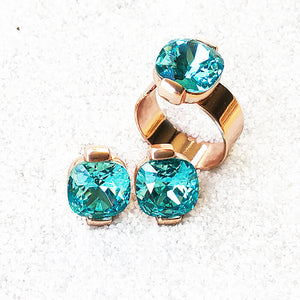 stylish ethical jewellery rose gold and light turquoise swarovski elements