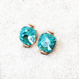 elegant rose gold and light turquoise swarovski crystal stud earrings