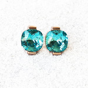 unique stud earrings australia rose gold and light turquoise crystal