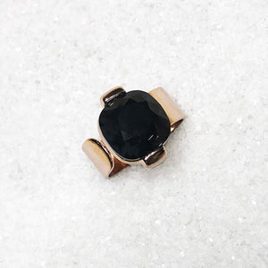 unique statement rings black swarovski crystal and rose gold
