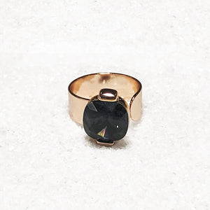 unique rose gold and black swarovksi statement ring blackbird