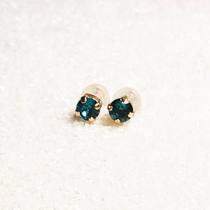 sparkly stud earrings for girls turquoise and rose gold