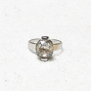 elegant silver cocktail ring with silver patina swarovski crystal