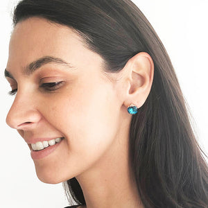 chic turquoise swarovski crystal and rose gold stud earrings