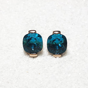 unique turquoise swarovski and rose gold stud earrings australia