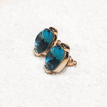 elegant indicolite swarovski and rose gold stud earrings online