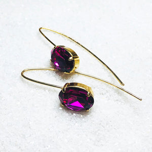 unique gold dangle earrings with fuschia swarovski crystal australia