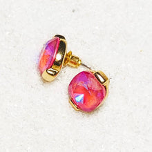 elegant pink swarovski and gold stud earrings