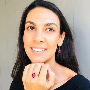 ethical gold jewellery with pink swarovski elements