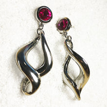 dangly silver earrings with hot pink swarovski crystal online