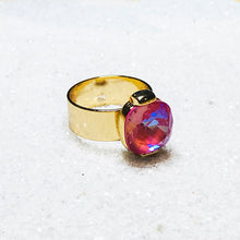 unique pink swarovski crystal and gold statement ring