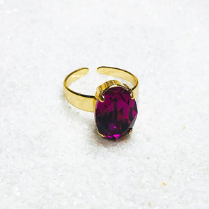 ethical statement ring fuschia swarovski and gold finish